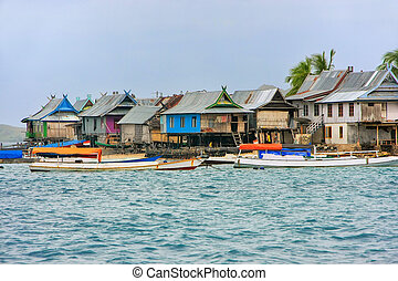 Typical village on small island in Komodo National Park,...