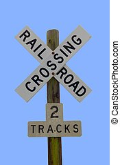 railroad crossing sign at rural georgia usa