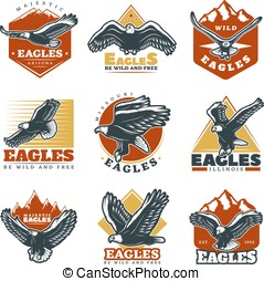 Colored Vintage Beautiful Eagles Labels Set - Colored...