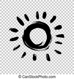 Painted sun icon. Grunge design element for weather forecast website. Brush strokes texture. Distress vector illustration.