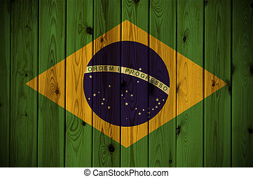Wooden Brazil flag - A Brazil flag painted on a wooden wall