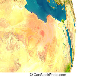 Libya on planet - Libya highlighted in red on planet Earth....