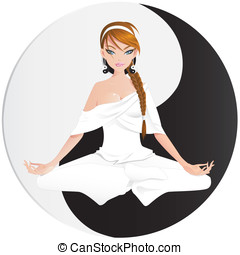Woman practicing yoga with yin yang background