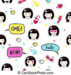 Anime style seamless pattern. Cute emoji girls. Kawaii patch...
