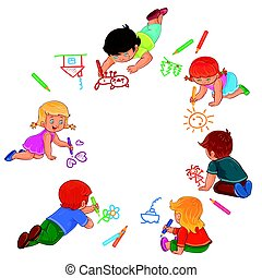Vector little boys and girls draw with colored pencils. -...