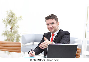 business and office concept - handsome businessman with hand...