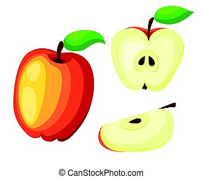 Red Apples with Green Leaves and Apple Slice Vector Illustration. Flat vector