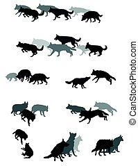 Set of vector group of dogs