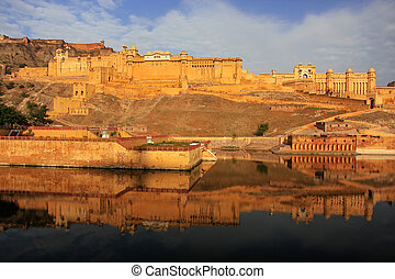 Amber Fort reflected in Maota Lake near Jaipur, Rajasthan,...