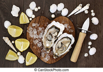 Fresh Oysters on Ice - Fresh oysters on crushed ice on a...