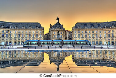 Place de la Bourse reflecting from the water mirror in...