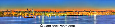 Panorama of Bordeaux and the Garonne river - France,...
