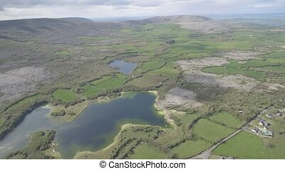 Epic Aerial view of the beautiful Irish countryside nature...