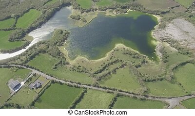 Aerial view of the beautiful Irish countryside nature...