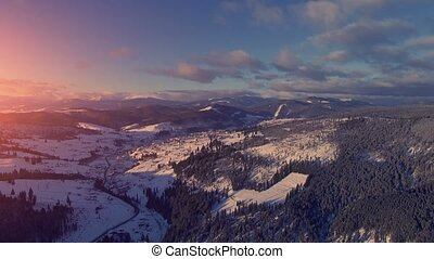 Aerial Drone View: Holidays in Ski Resort Bukovel - Aerial...