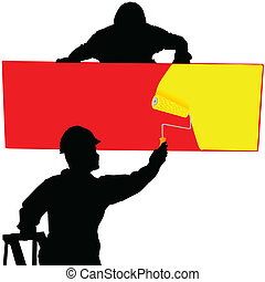 board painted with two workers
