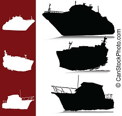 boat and yacht vector silhouettes
