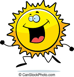 Sun Running - A happy cartoon sun running and smiling.