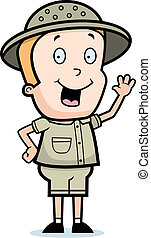 Explorer Waving - A happy cartoon child explorer waving and...