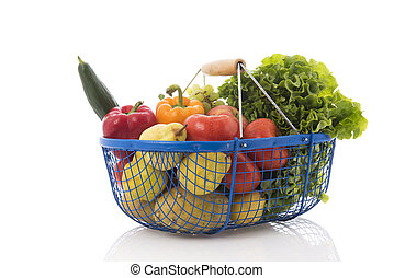 Harvest basket with vegetables and fruit - Harvest basket...