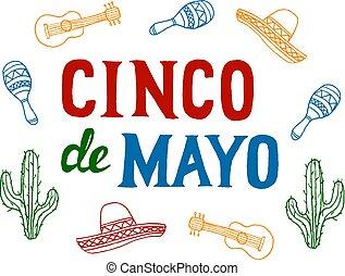 Cinco de Mayo Fiesta background with sombrero, maracas,...