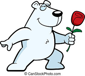 Polar Bear Flower - A happy cartoon polar bear with a flower...