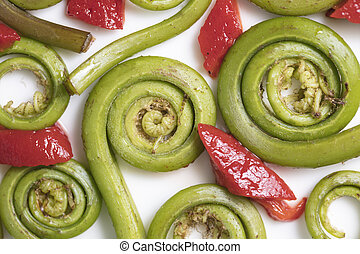 Fiddlehead Ferns and Red Pepper Pieces - Fiddlehead Ferns...