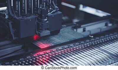 Automated Electronic circuit board production. Blue toning -...