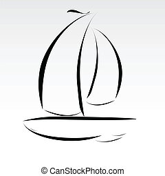 barco, líneas, Ilustración