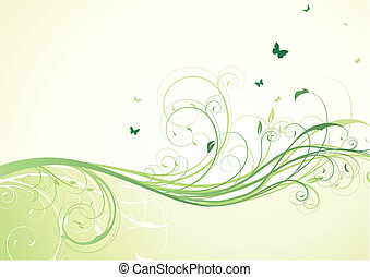 floral background - vector illustration of abstract green...