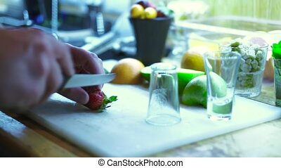 The barman prepares the products for a cocktail 4k - The...