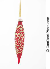 Christmas Red Ornament Isolated - A gold and red Christmas...