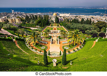Baha'i temple - Bahai gardens and temple on the slopes of...