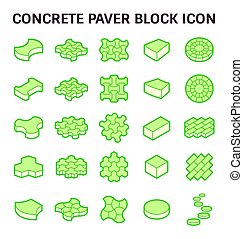 Paver block icon - Concrete paver block floor vector icon...