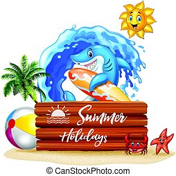 Summer background with surfing shark and wooden sign