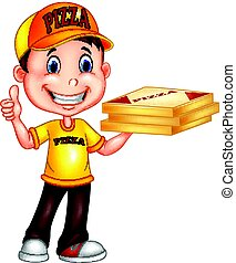 Cartoon pizza delivery man giving thumbs up - Vector...