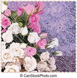 Tapestry background with stylized bouquet of roses on grunge...