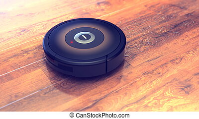 robotic vacuum cleaner .smart cleaning technology isolated. 3d illustration