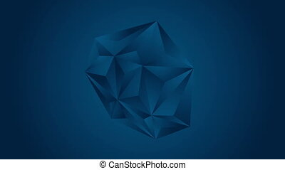 Dark blue tech polygonal triangles video animation - Dark...