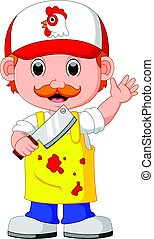 Butcher with knife - illustration of Butcher with knife