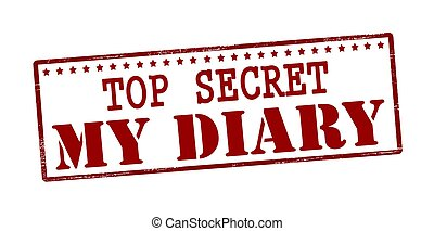 My diary - Stamp with text top sercret my diary inside,...