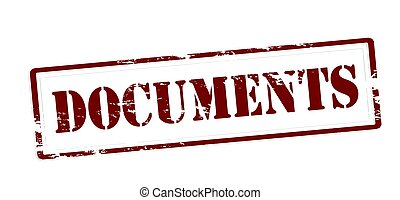 Documents - Stamp with word documents inside, vector...