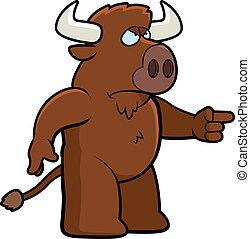 Angry Buffalo - A cartoon buffalo with an angry expression