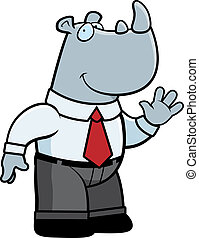 Businessman Rhino - A happy cartoon rhino businessman waving...