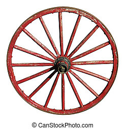 Red Antique Wagon Wheel - Antique wagon wheel with wooden...