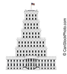 White House Tower - The White House with the American flag,...