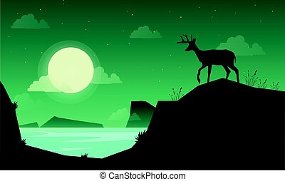 Landscape deer on the hill of silhouettes