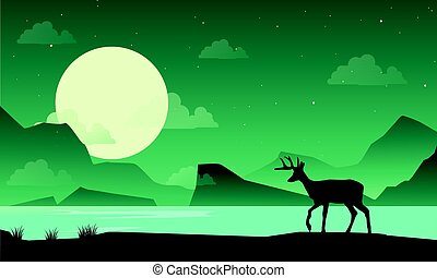 Silhouette of deer on lake at night scenery