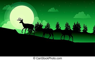 Lined deer on the hill landscape of silhouette
