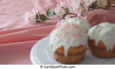 Sweet Easter bread on Easter background - Beautiful Easter...